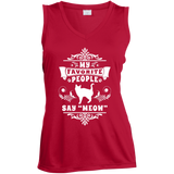 My Favorite People Say Meow Ladies Sleeveless Moisture Absorbing V-Neck