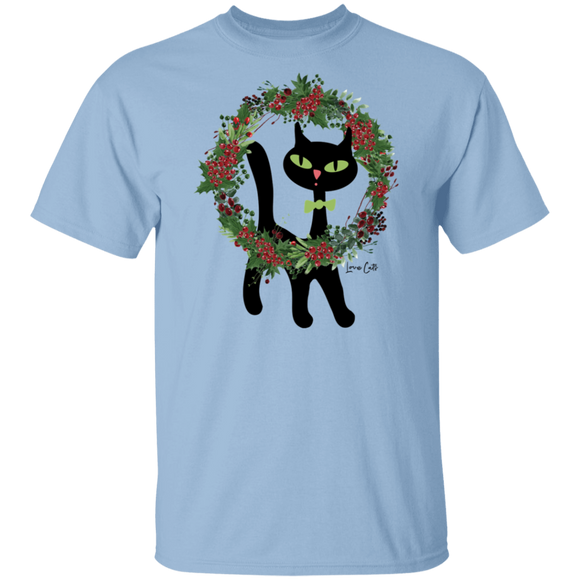 Victor in Christmas Wreath Cotton T-Shirt
