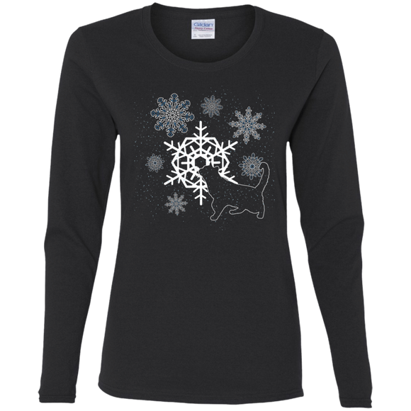 Cat and Snowflakes Ladies Long Sleeve T-shirts