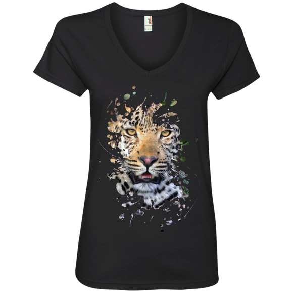 Disappearing Leopard Ladies V-Neck T-Shirt