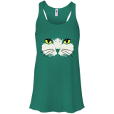 Gold Eyed Cat Face Flowy Racerback Tank