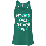 My Cats Walk All Over Me - Turquoise Pawprints Flowy Racerback Tank