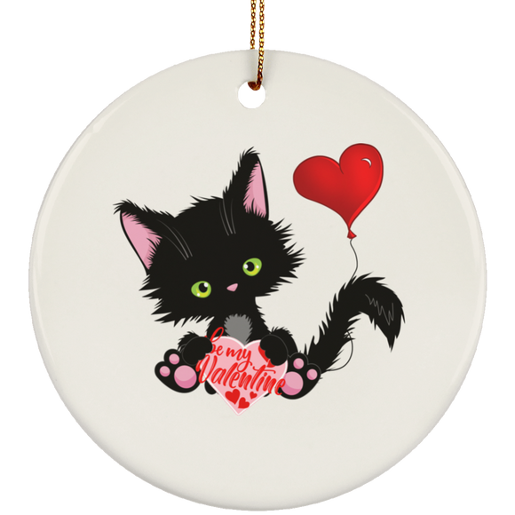 Lucky the Black Cat with Valentine Ceramic Ornaments in 4 Shapes