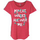 My Cat Walks All Over Me - Turquoise Pawprints Ladies Triblend Dolman Sleeve