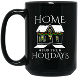 Home for the Holidays 11 and 15 oz Black Mugs