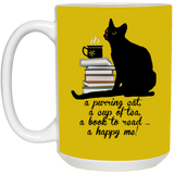 Cat-Tea-Book-Happy White Mugs