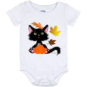 Lucky the Black Cat with Pumpkin Baby Onesies