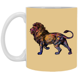 Colorful Lion 11 and 15 oz White Mugs