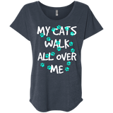 My Cats Walk All Over Me - Turquoise Pawprints Ladies Triblend Dolman Sleeve