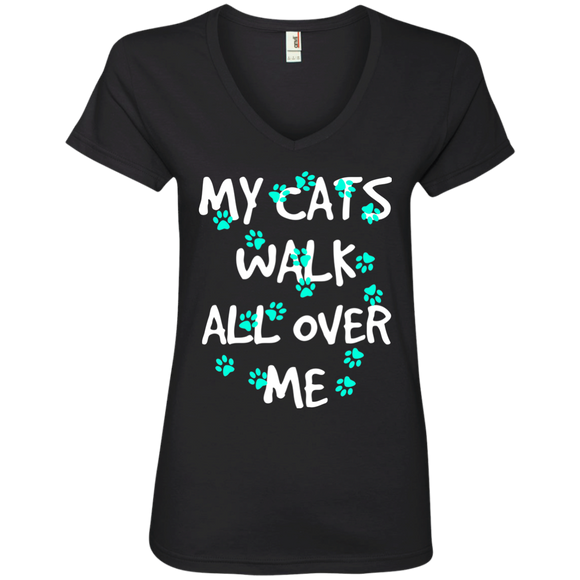 My Cats Walk All Over Me - Turquoise Pawprints Ladies V-Neck T-Shirt