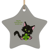 Lucky the Black Cat with Shamrock Ceramic Ornaments in 4 Shapes