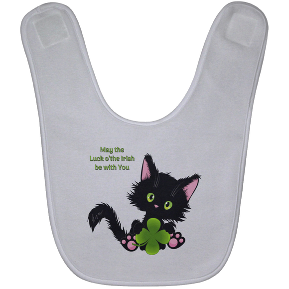 Lucky the Black Cat with Shamrock Baby Bib