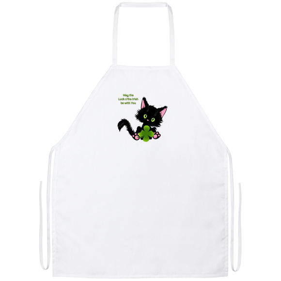 Lucky the Black Cat with Shamrock Apron