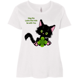 Lucky the Black Cat with Shamrock Ladies Curvy T-Shirts