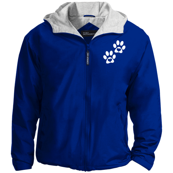 Heart Paw Print Hooded Lined Nylon Jacket