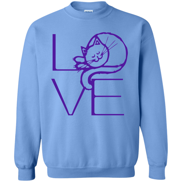 LOVE Cat Crewneck Pullover Sweatshirt