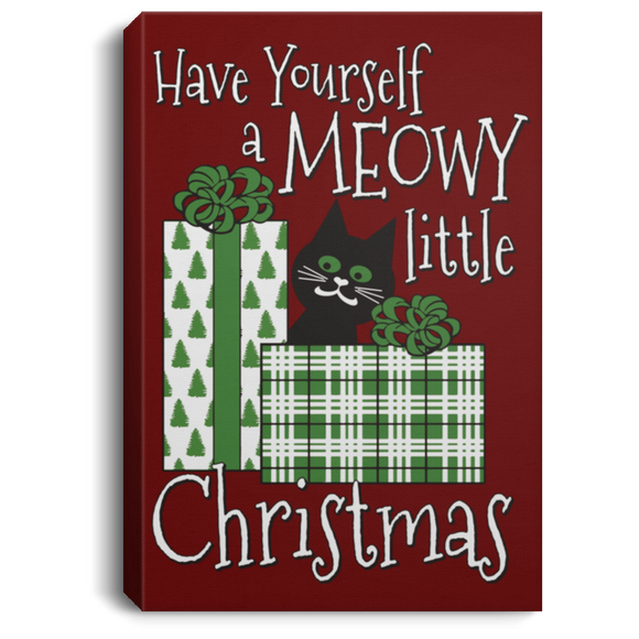 Meowy Little Christmas Portrait Canvas .75in Frame