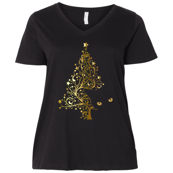 Black Cat Christmas Tree Ladies Curvy T-Shirts