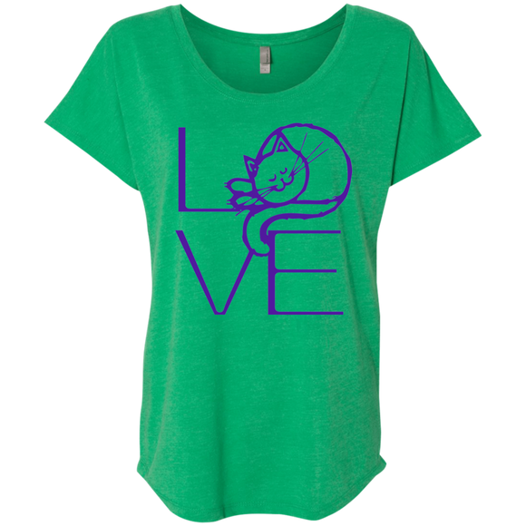 LOVE Cat Ladies Triblend Dolman Sleeve