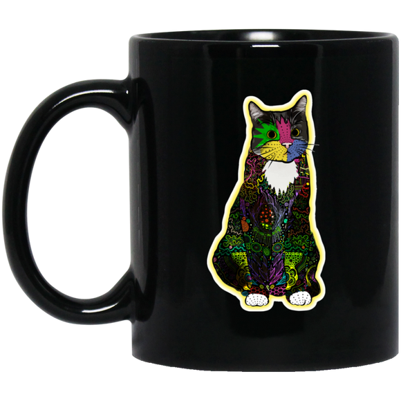 Colorful Tuxedo Cat 11 and 15 oz Black Mugs