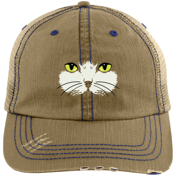 Gold-Eyed Cat Face for embroidery Hats