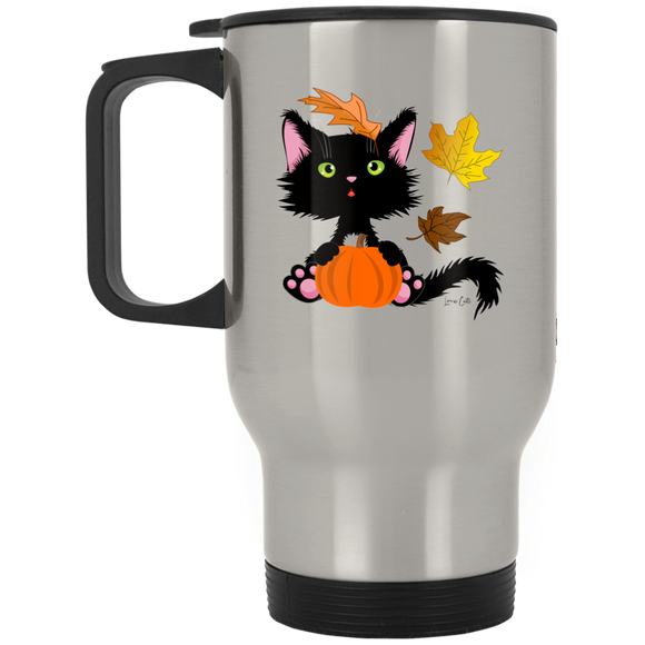 Lucky the Black Cat with Pumpkin Stainless Steel Travel Mug