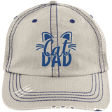 Cat Dad Distressed Unstructured Trucker Cap