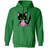 Lucky the Black Cat with Easter Egg Pullover Hoodie
