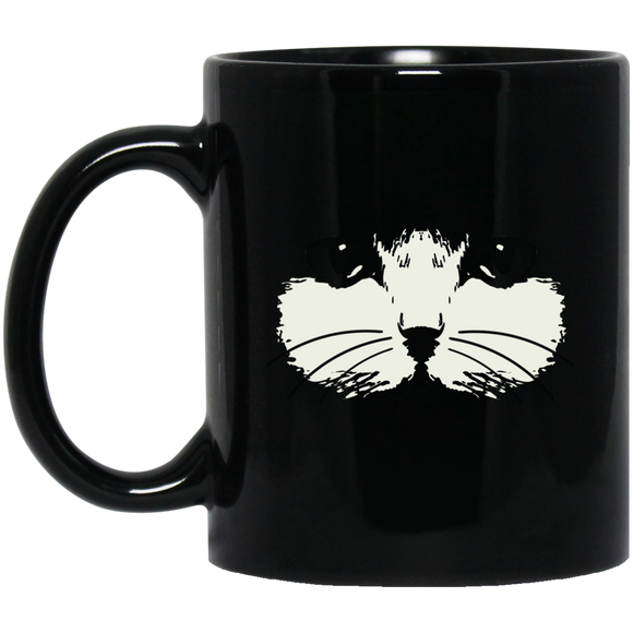 Cat Face 11 and 15 oz Black Mugs