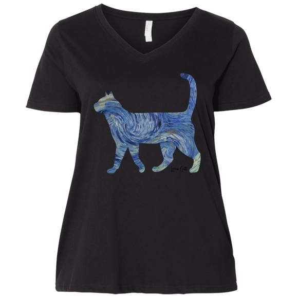 Starry Night Tabby Ladies Curvy T-Shirts