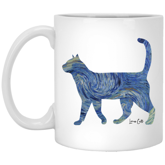 Starry Night Tabby 11 oz. White Mug