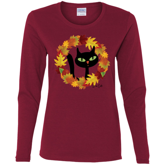 Victor in Fall Wreath Ladies Long Sleeve T-Shirts