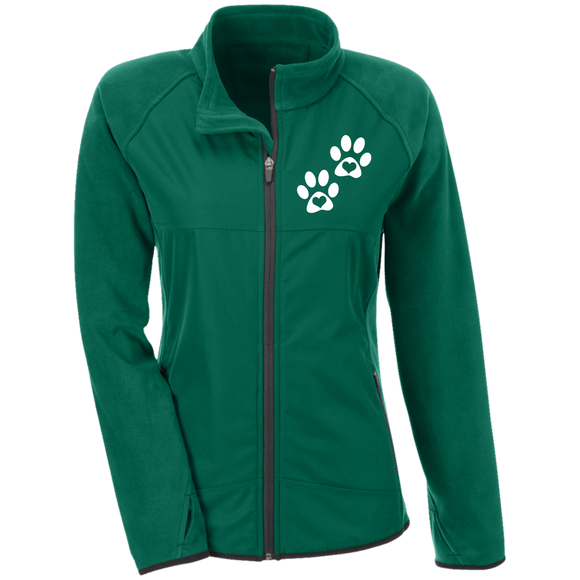 Heart Paw Print Ladies' Microfleece Jacket with Front Polyester Overlay
