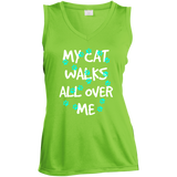 My Cat Walks All Over Me - Turquoise Pawprints Ladies Sleeveless Moisture Absorbing V-Neck