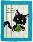 Lucky the Black Cat with Shamrock Cozy Plush Fleece Blankets