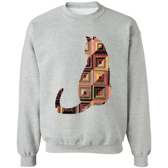 Log Cabin Cat Crewneck Pullover Sweatshirt