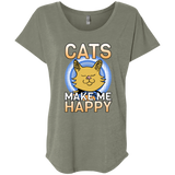 Cats Make Me Happy Ladies Triblend Dolman Sleeve