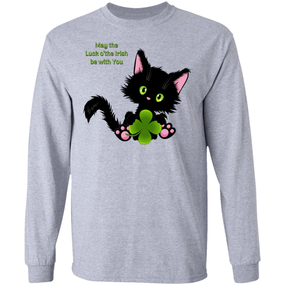 Lucky the Black Cat with Shamrock LS Ultra Cotton T-Shirt
