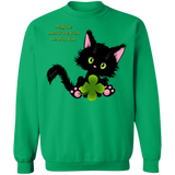 Lucky the Black Cat with Shamrock Crewneck Pullover Sweatshirt