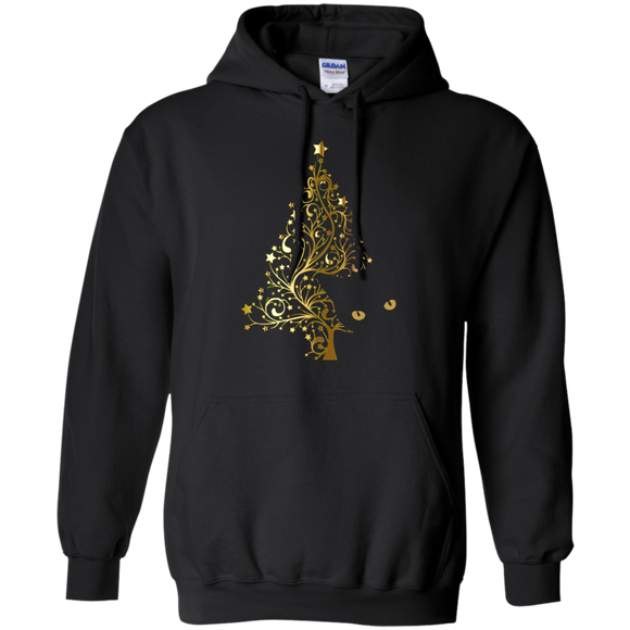 Black Cat Christmas Tree Pullover Hoodie