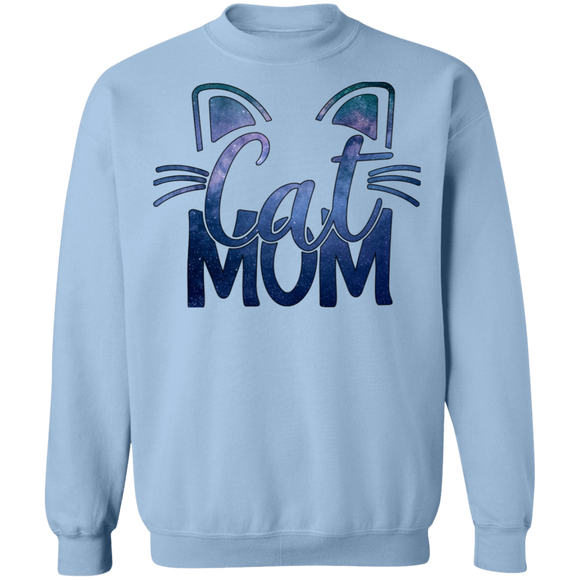 Cat Mom in Blue Crewneck Pullover Sweatshirt