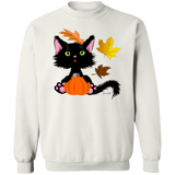 Lucky the Black Cat with Pumpkin Crewneck Pullover Sweatshirt