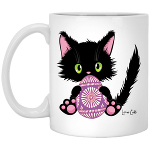 Lucky the Black Cat with Easter Egg White Mugs
