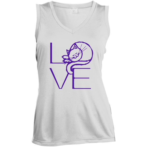 LOVE Cat Ladies Sleeveless Moisture Absorbing V-Neck