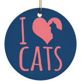 I Heart Cats Ceramic Ornaments in 4 Shapes