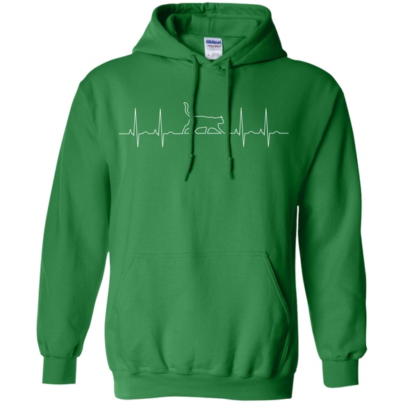 Walking Cat Heartbeat Pullover Hoodie