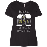 Home is Full of Warmth, Love and Cats Ladies Curvy T-Shirts