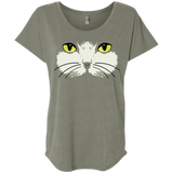 Gold Eyed Cat Face Ladies Triblend Dolman Sleeve