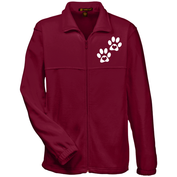 Heart Paw Print Fleece Full-Zip Men's Jacket