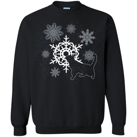 Cat and Snowflakes Crewneck Pullover Sweatshirt